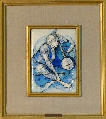 Magnificent Listed Artist Young Lady Portrait Painting Enamel on Copper w/Frame