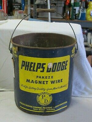 Vintage Old Metal Can Container Phelps Dodge Pakeze Magnet Wire