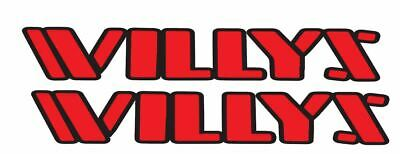 "(2) 18"" WILLYS Decal for Jeep Wrangler Rubicon Hood Decal Set Jeep Off-road"