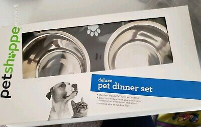 Pet Shoppe Deluxe Dog Cat Dinner Set~Metal Food Bowls W/ Stand New