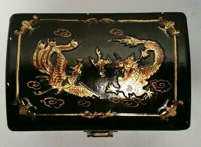 "Vintage Chinese Painted 9""x6""x6"" Lacquered Wood Chest Storage Box Brass Dragons"