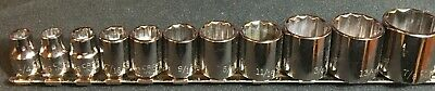 Rare 11 Pc Craftsman Industrial 3/8 In Drive Sae 12 Pt Sockets  1/4-7/8 In Usa