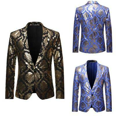 Blazer Jacket Party Coat Tops Formal Floral Mens Club Wear Suit Business Host