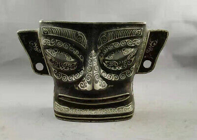 """16""""Antique Old Chinese Dynasty Bronze Silver Sanxingdui Human Facial Mask Statue"""