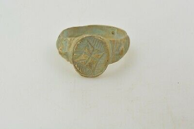 Byzantine Bronze ring Cross 1000 AD US size 6 3/4