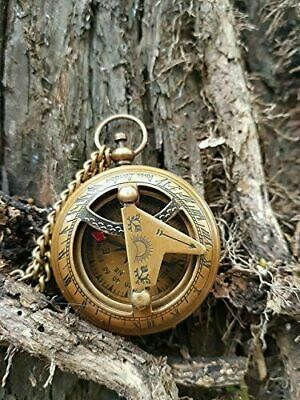 Vintage Push Button Sundial Nautical Brass Compass with Chain Antique Maritime