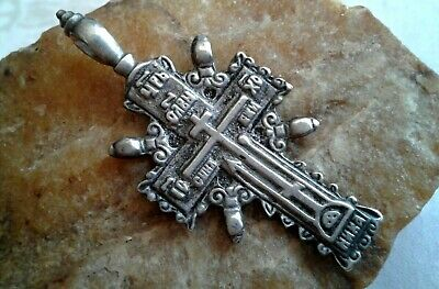 """LARGE IMPERIAL RUSSIAN SILVER ORTHODOX """"OLD BELIEVERS"""" CROSS with JESUS PRAYER"""