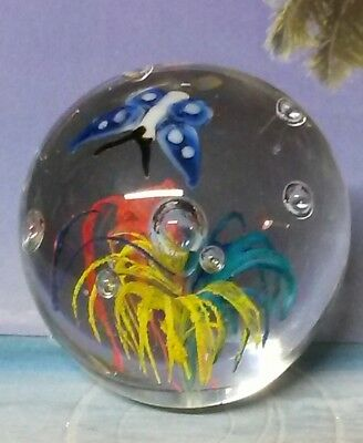 """Beautiful Vintage 2"""" Hand Blown Round Glass Paperweight Flower and Butterfly"""