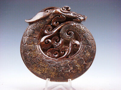 Old Nephrite Jade 2 Sides Carved LARGE Pendant Furious Curly Dragon #12281905