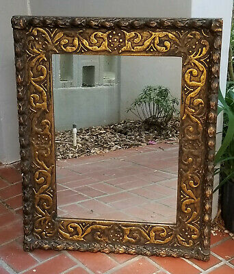 """SUPERB ANTIQUE 19c. FRENCH CARVED ORNATE GILT WOOD MIRROR ~ 27""""x34"""""""