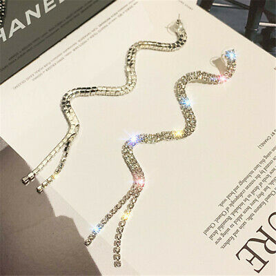 Full Gift S-shaped Women Dangle Long Tassel Rhinestone Drop Earrings Hot Jewelry