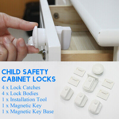 11 IN 1 Child Safety Cabinet Locks Magnetic Drawer Cupboard  Proofing Locks Set