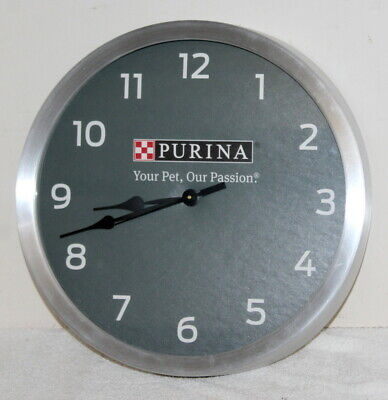 """Purina """"Your Pet, Our Passion"""" Battery Operated Wall Clock ~ 14"""" ~ Working"""