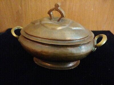 Vintage Arts & Crafts Mission Hand Hammered Copper container with cover