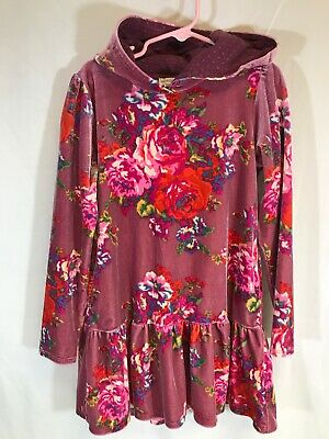 MONSOON Girls Long Sleeve Velour Pink Floral Hoodie Pullover Sz 7-8