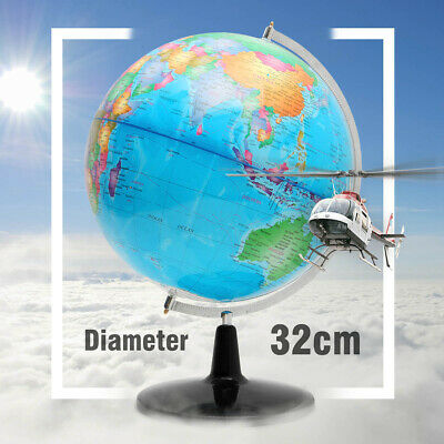 32CM Rotating Earth Globe World Map Metal Swivel Stand Educational Toy Geography