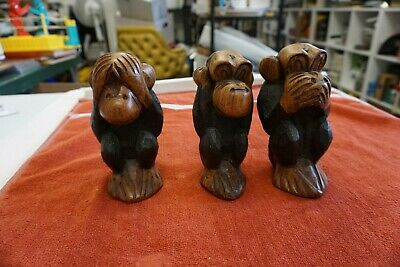 Hand Carved Wooden SEE, HEAR, SPEAK NO EVIL Monkeys