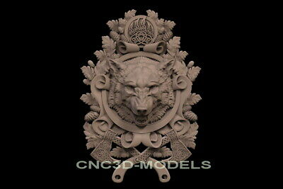 3D Model STL for CNC Router Carving Artcam Aspire Wolf Hunting Shield Pano f712