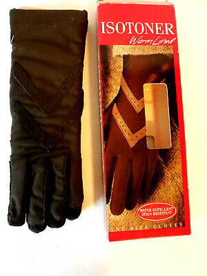 Isotoner Brown Women's Lined Driving Gloves Leather Trim One Size 6-8 NIB Vtg