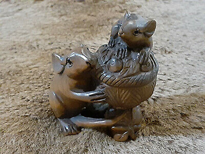 Boxwood Hand Carved Japanese Netsuke Sculpture with Two Mice and a Basket