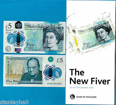 England – HISTORIC FIRST £5 POLYMER ISSUE Victoria Cleland 13.9.2016 W/BOOKLET