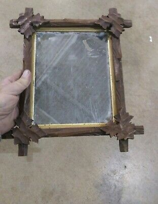 """Antique Architectural Eastlake Mission A&C Leaf Decorated Mirror Losses ~7""""X9"""""""