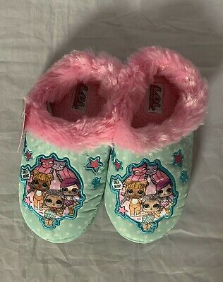 LOL Surprise Girls Slippers House Shoes Blue Plush Size 13-1