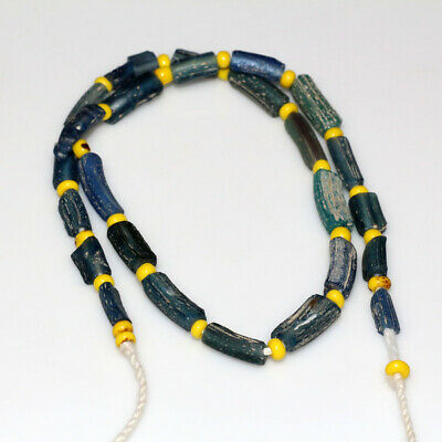 Stunning Egyptian Green Blue And Yellow Stones Necklace Circa 100 Bc-Ad