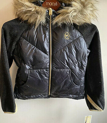 Bnwt Michael Kors Girls Light Weight Jacket With Hood Size 7/8 Years