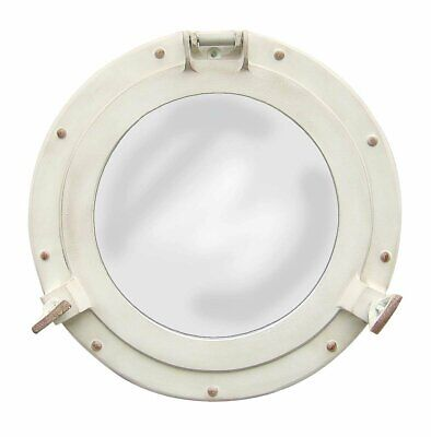 Antique White Porthole Mirror Nautical Ships Maritime Vintage Decor NGN21