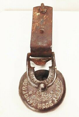 Vtg antique cast iron barn door gate hinge hanging track roller rustic