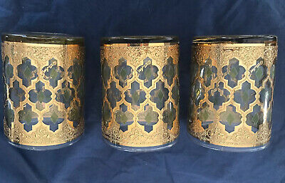 RARE CULVER VALENCIA glasses Embossed gold w/green diamonds & signature~MCM~3