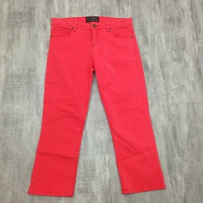 Women's Sanctuary Orange Coral Slim Straight Mid Rise Capris Crop Pants Size 27