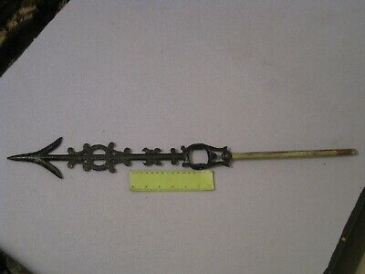 """Antique Cast Iron Wethervane Arrow 27"""" Long with copper Rod"""