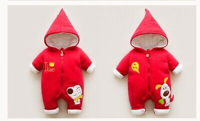 Childrens Kids Baby's Girls Boys Unisex Cute Winter Long-Sleeve One Piece Outfit