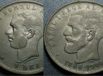 1906 ROMANIA Silver CAROL 40 Years COMMEMORATIVE Crown Size 5 Lei ONLY 200k MADE