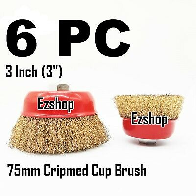 "6 CUP 3"" Crimp Wire Cup Wire Brush 5/8"" X 11 NPT Fits Most Angle grinders"