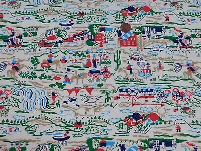 2 1/4 Yds Western Frontier Theme Fabric Vintage Cotton 1960's Red Green Blue