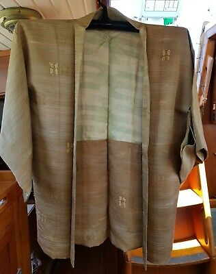 Lovely Brown Gold Butterfly Pattern Vintage Japanese Haori (Kimono Jacket)