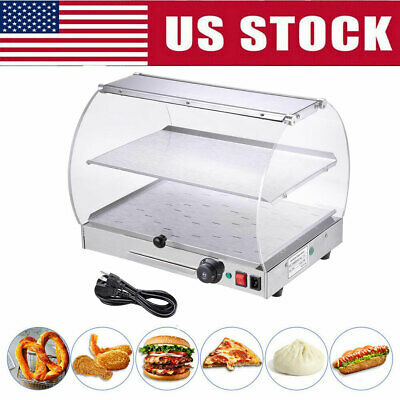 2 Tier Commercial Countertop Food Warmer Curved Acrylic Display Cabinet Case US