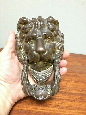 "Vtg Solid Brass 7.5"" Lions Head Door Knocker"