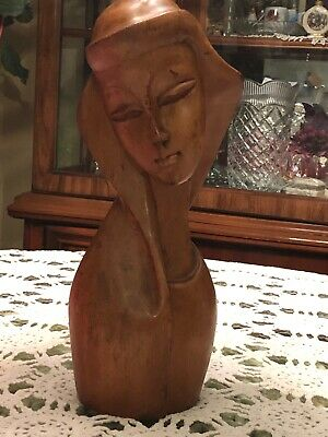 """Madonna Statue Virgin Mary Carved Myrtlewood Religious Figurine Decor 12.5"""" Wood"""