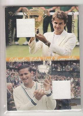 2012 ACE Authentic Grand Slam 3 #DMS7 Roger Federer Roy Emerson Dual Jersey