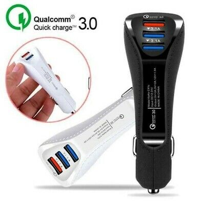 3-Port USB Car Charger Adapter QC 3.0 Fast Charging For iPhone Samsung Universal