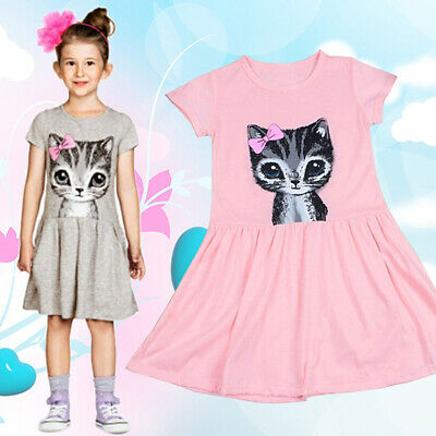 Kids Girls Fashion Summer Short Sleeve Cute Cat Bowknot Dress O-Neck Dress Sera