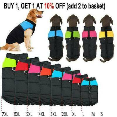 Waterproof Pet Dog Clothes Autumn Winter Warm Padded Coats Vest Jacket Apparel-