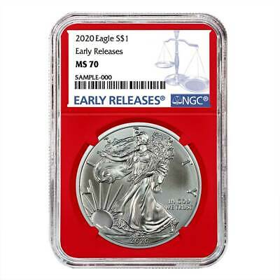 2020 $1 American Silver Eagle NGC MS70 Blue ER Label Red Core
