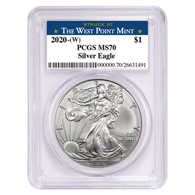 2020 (W) $1 American Silver Eagle PCGS MS70 West Point Label