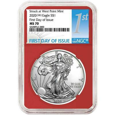 2020 (W) $1 American Silver Eagle NGC MS70 FDI First Label Red Core