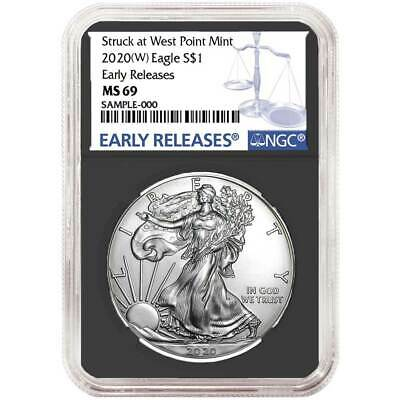 2020 (W) $1 American Silver Eagle NGC MS69 Blue ER Label Retro Core